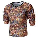 Mens T Shirts Clearance Sale vermers Fashion Men's Personality Slim Fit Tees Casual Long Sleeve Printed Top Blouse(2XL, Yellow)