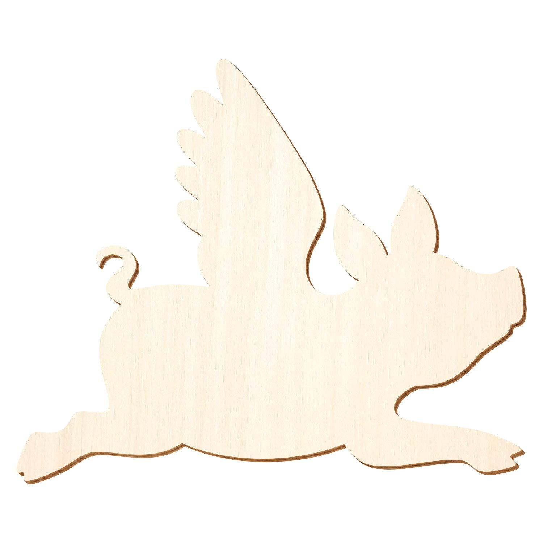 Holz Glücksschwein, Fliegendes Schwein - 3-50cm 3-50cm 3-50cm Breite - Basteln Deko, Pack mit 10 Stück, Größe 34cm B07Q38FTDJ | Neue Sorten werden eingeführt  5476b2