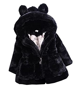 1eccd5b46 Arrowhunt Little Girls Winter Thick Warm Fur Hooded Coat Outerwear ...