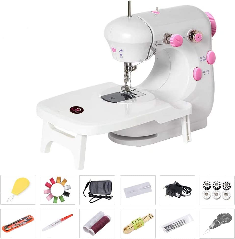 Bruvoalon Electric Sewing Machine, Portable Household Lightweight Sewing Machine for Beginner, Double Thread, Free Arm, Night Light, Foot Pedal, Adjustable 2-Speed for Tailors/Arts/Crafting (White)