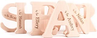ANY LETTER natural wooden baby teether toy