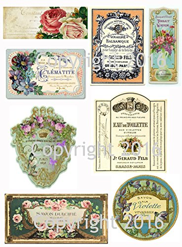 (French Vintage Perfume Labels Collage Sheet #101)