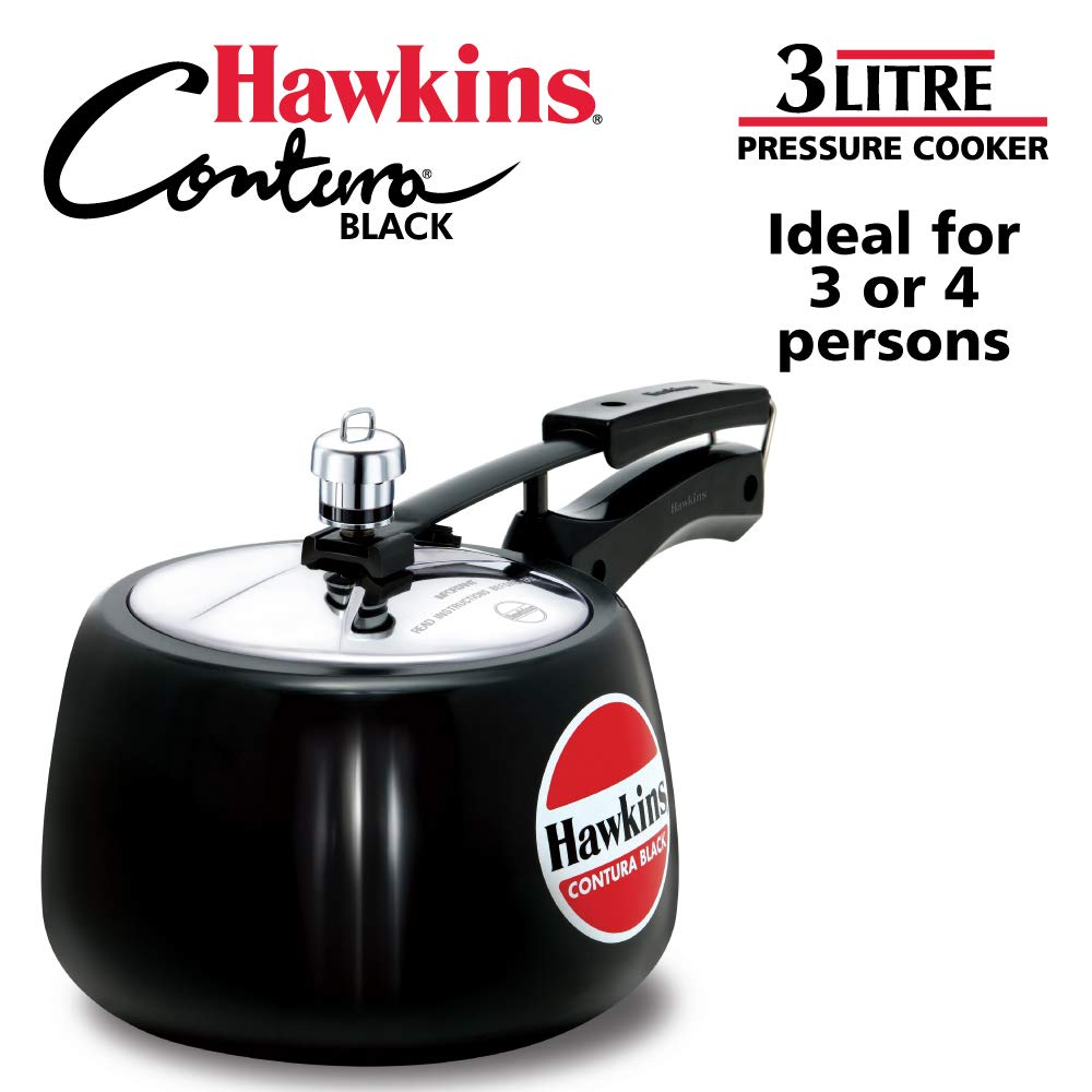 Hawkins CB30 Hard Anodised Pressure Cooker, 3-Liter, Contura Black by HAWKINS