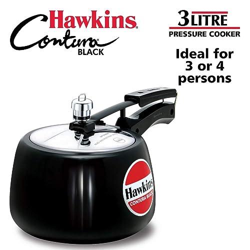 4. Hawkins Contura Hard Anodised Aluminium Pressure Cooker, 3 Litres, Black