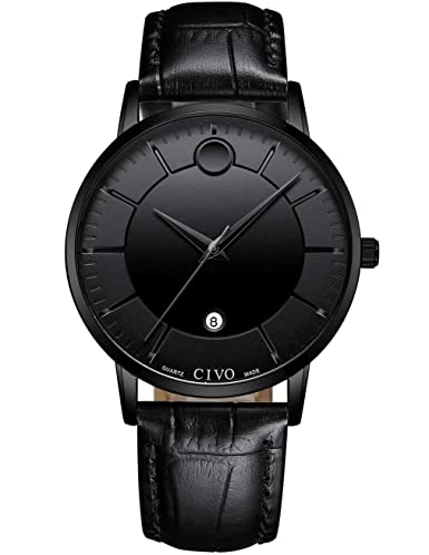 CIVO Relojes Hombre Impermeable Minimalista Lujo Negro Reloj de Cuero Moda Deportivo Caballero Analogico Casuales Negocios