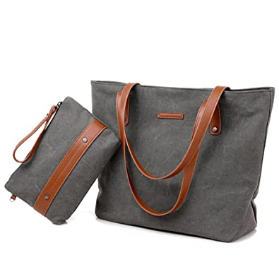 Women s Large Canvas Tote Bag Casual Handbag Travel Shoulder Bag with Small  Coin Purse Wristlet for 73e0e3960