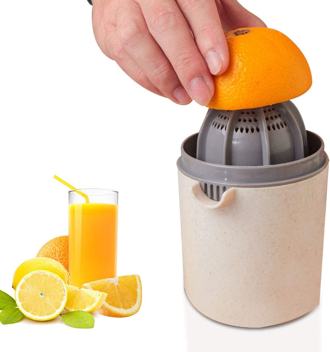 Manual Juicer, Citrus Lemon Orange Hand Squeezer Lime Juicer Manual Citrus Press Juicer with Strainer and Container- JH JIEMEI HOME