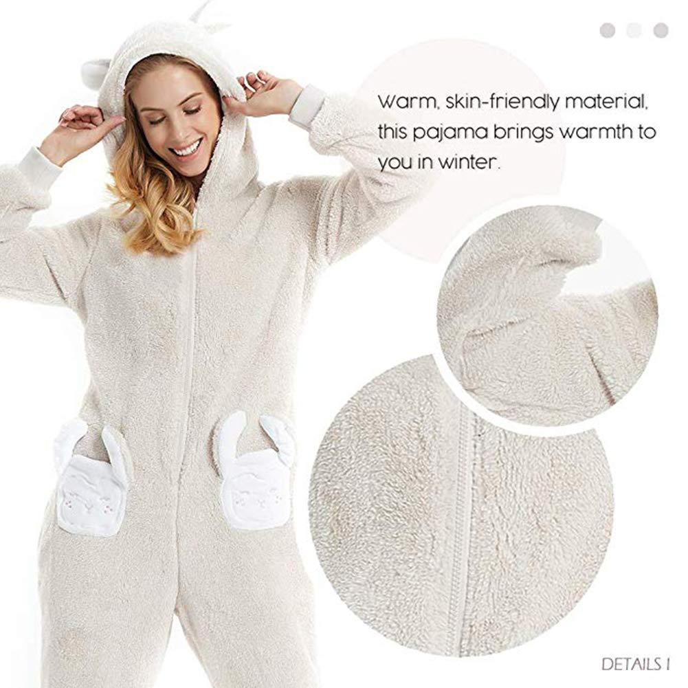 d14aa357d Women s One Piece Pajamas Rabbit Ears Fleece Bathrobe Animal Onesie ...