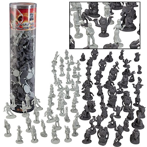 Humans Vs Aliens Space Monster Action Figure Toy Playset - Giant 90 pc Set w 16 Unique Futuristic Sculpts - Great for Party Favors, Decorations, Dioramas, - Futuristic Party