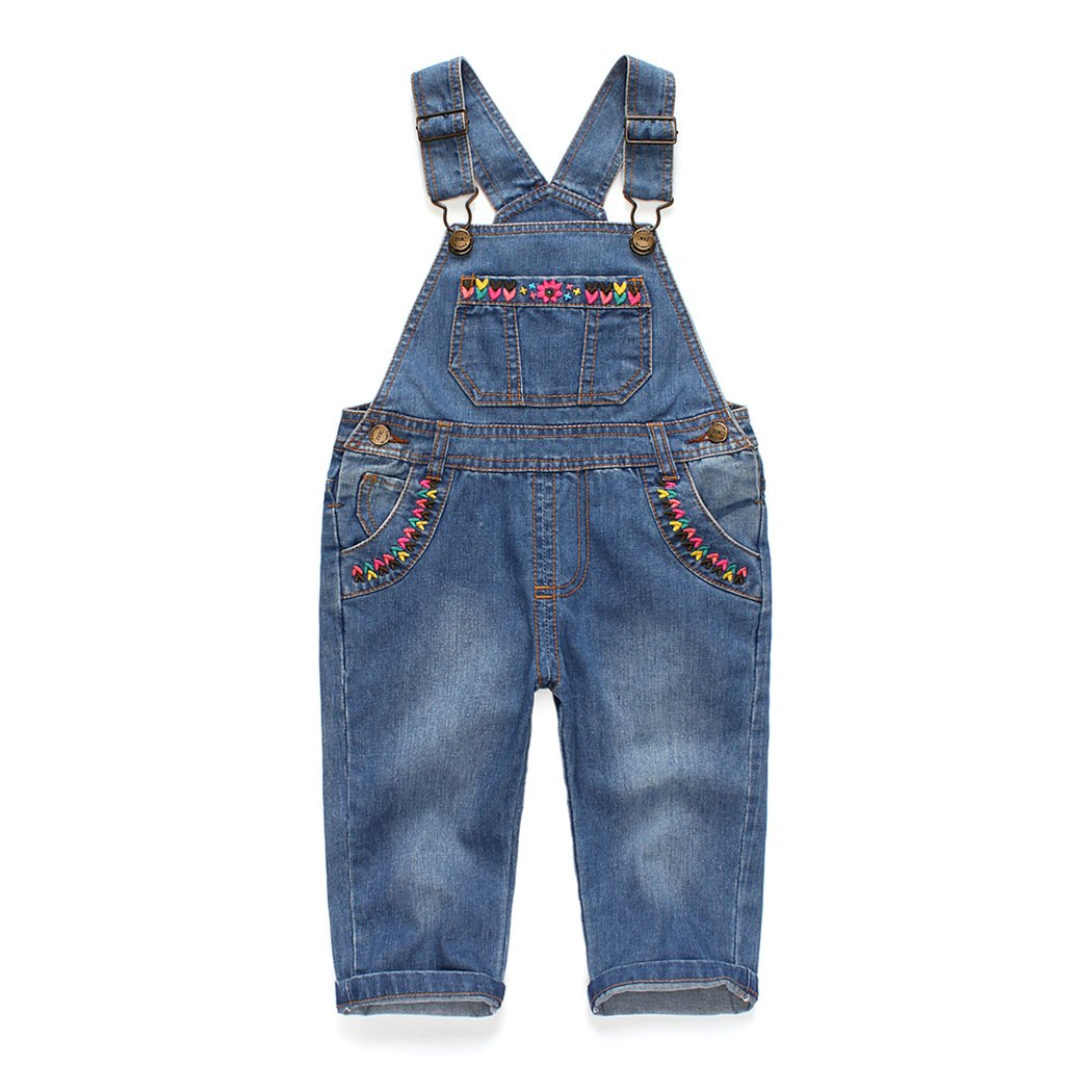 Kidscool Baby & Little Girls Flower Decor Big Bib Jeans Overalls