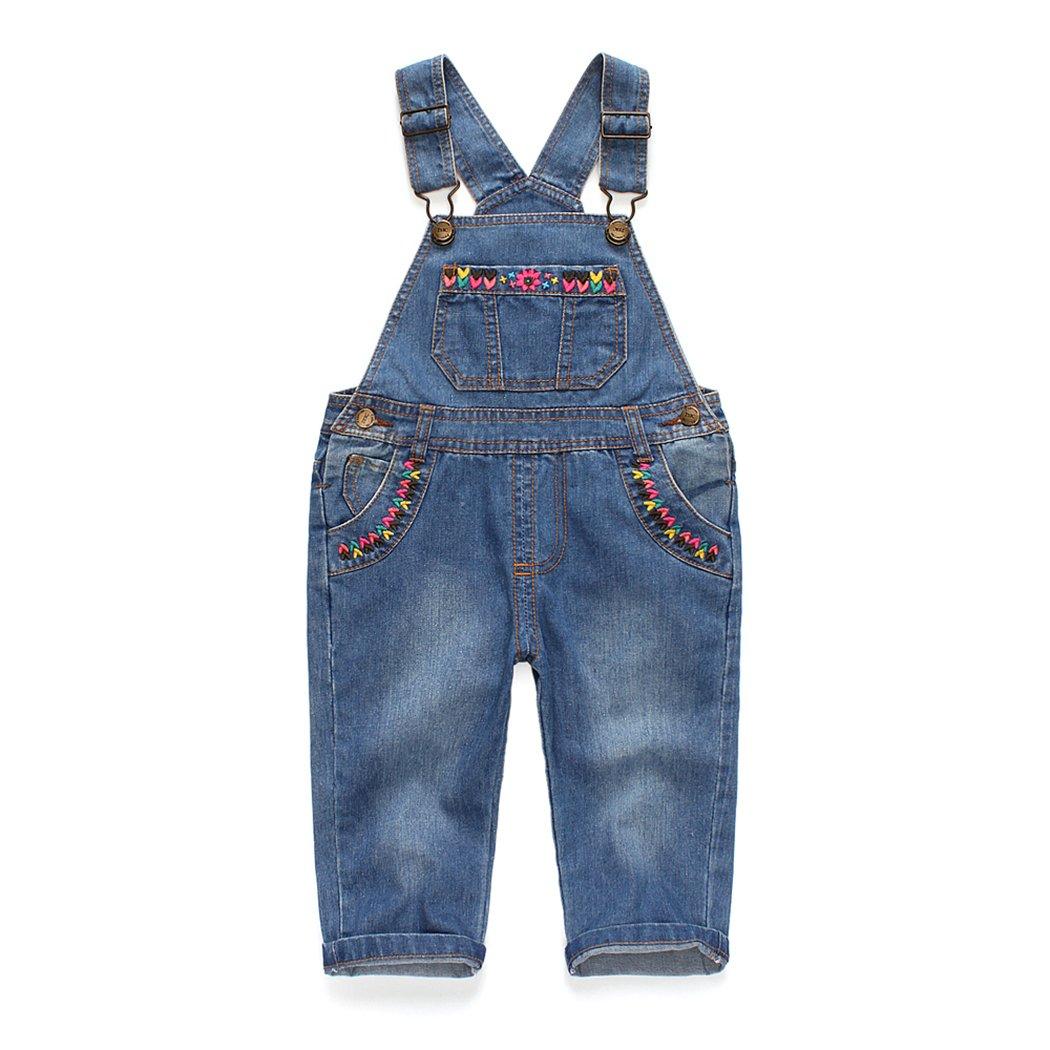 Kidscool Baby & Toddler Girls Flower Decor Big Bib Jeans Overalls Lightblue 3-4T