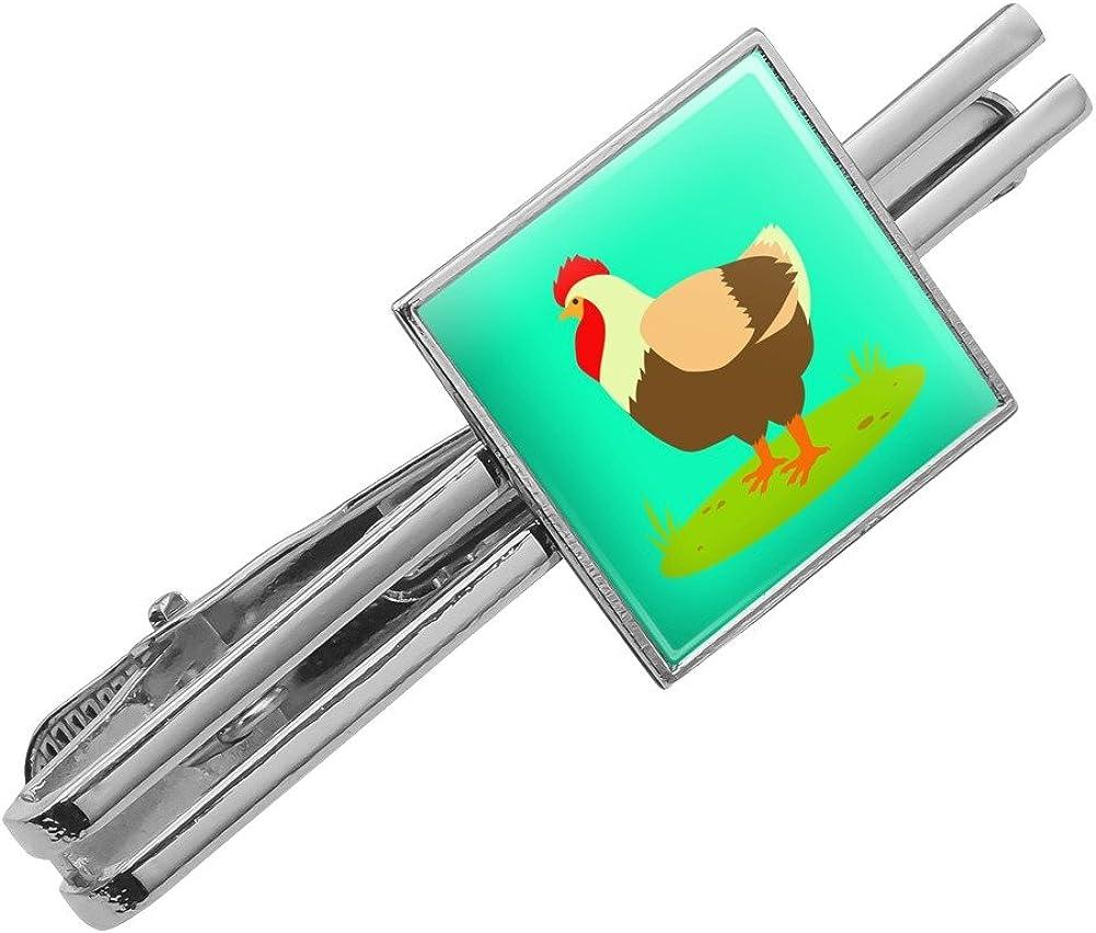 GRAPHICS /& MORE Chicken in Profile Square Tie Bar Clip Clasp Tack Silver or Gold