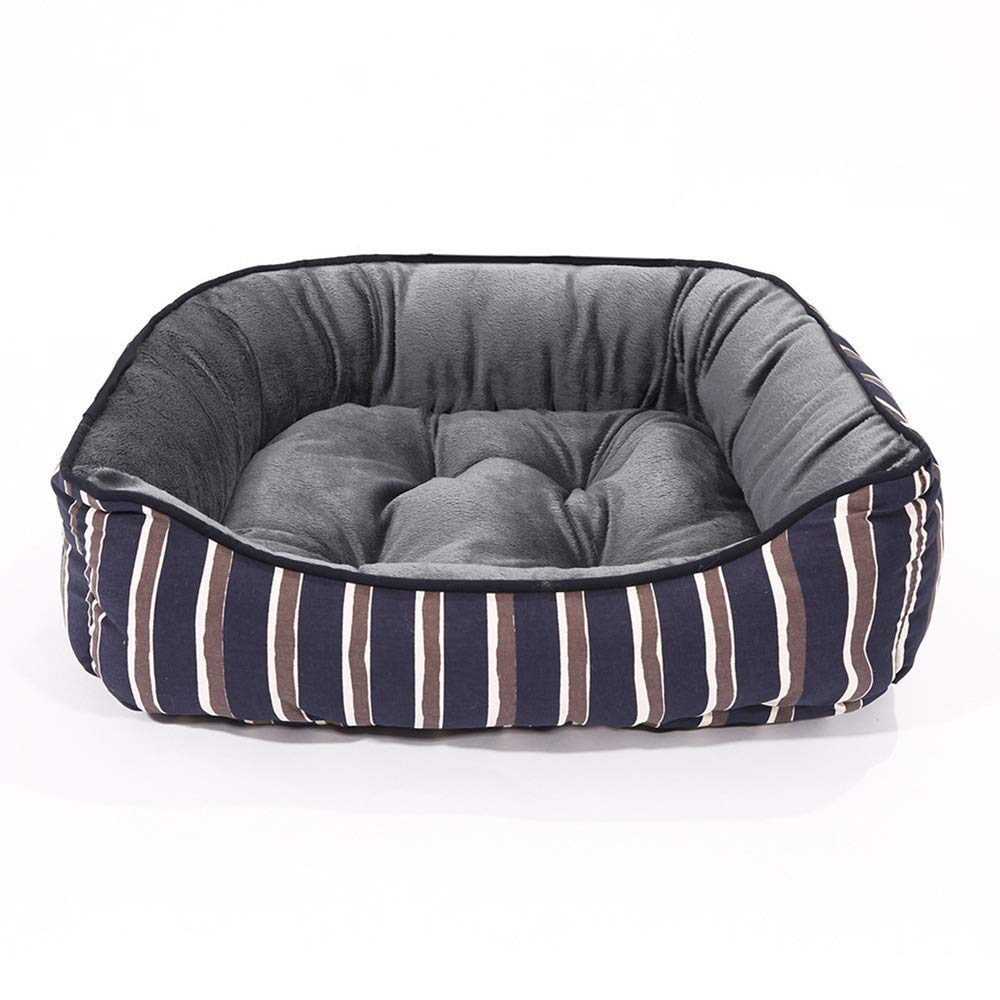 18x14x6in BYCWS Striped Dog Bed Cuddle, Self-Warming Lounge Sleeper Pet Bed Pet Products,18x14x6in
