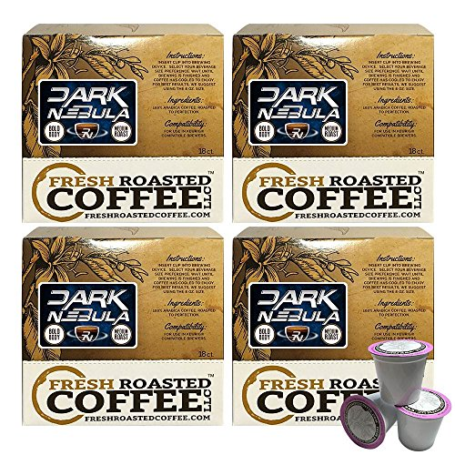 Fresh Roasted Coffee LLC, Dark Nebula Coffee Pods, Artisan Blend, Medium Roast, 72 Count
