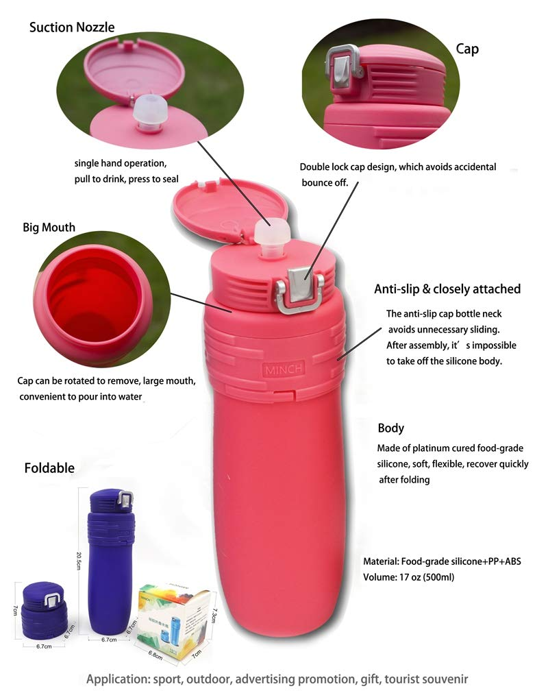 Camping Hiking Collapsible Silicone Water Bottle Travel Necessity Wide Mouth Leak Proof Convenient Bottle Food-Grade Safe Material Outdoor Sports BPA Free Portable, Foldable,17.6 oz