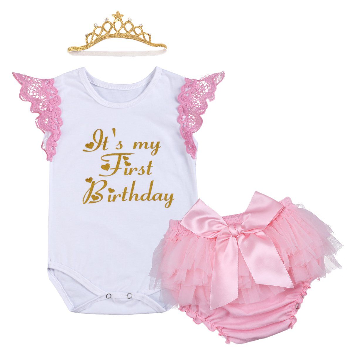 Baby Girl My 1st Birthday Cake Smash Outfits Romper Tutu Skirt Headband Clothes