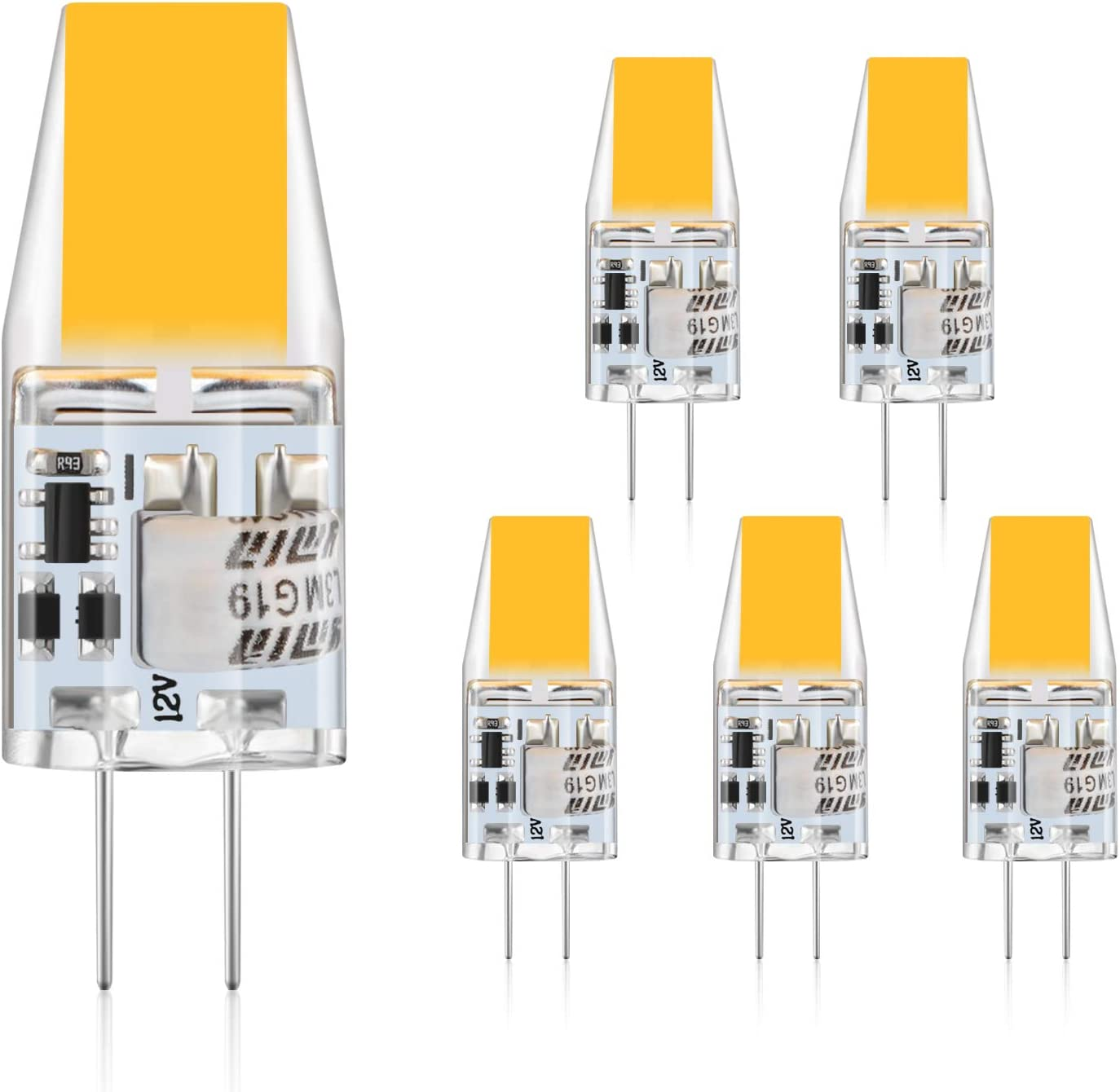 Defurhome G4 LED Bombillas, 3W Reemplaza a las bombillas halógenas de 30W equivalentes, 300LM, Blanco Cálido 2900K, AC/DC 12V, sin parpadeo, No regulable, paquete de 5