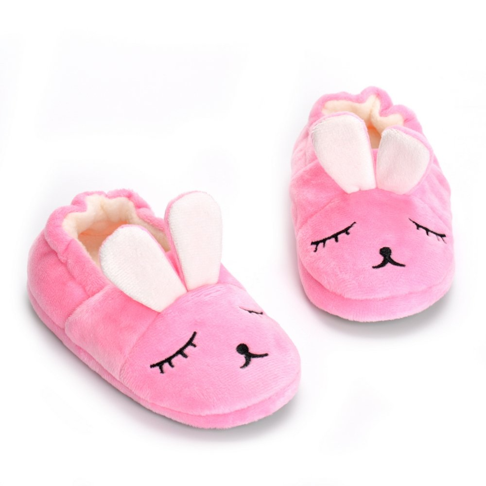 Toddler Girls Pink Bunny House Slippers Warm Cartoon Cute Rabbit Animals Shoes Rubber Sole