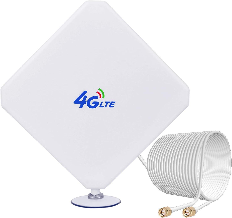 4G Antena SMA 35dBi Dual Mimo Antena de Amplificador de Señal de Alta Ganancia Antenna Exterior de Alto Rendimientode 4G 3G LTE para Enrutador Móvil ...