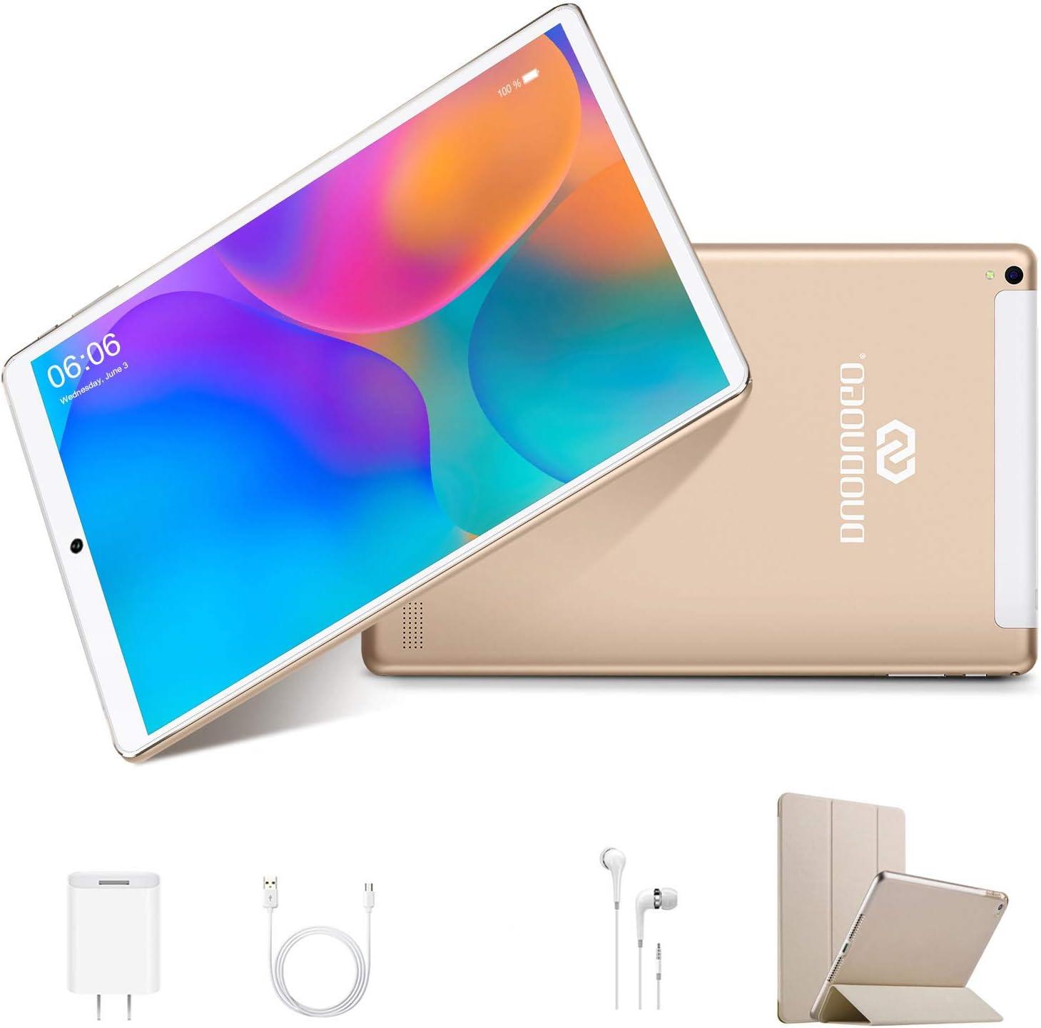 Tablets 10.1Pulgadas 4G Android 9.0 3GB RAM 32GB ROM de Memoria Tableta PC, Quad-Core 8MP Tablet PC 8000mAh Bluetooth WiFi/OTG /Netflix Dual SIM (Oro)