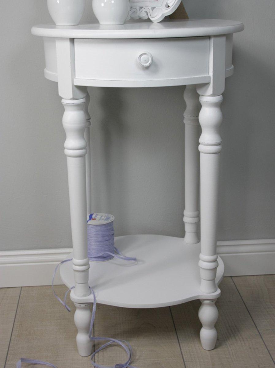 Elbmobel Nachttisch Beistelltisch Weiss Antik Schmal Rund Mit