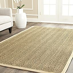 Safavieh Natural Fiber Collection NF115A Herringbone Natural and Beige Seagrass Area Rug (2\'6\
