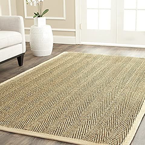 Safavieh Natural Fiber Collection NF115A Herringbone Natural and Beige Seagrass Area Rug (2' x 3') (Cotton Area Rugs 2x3)