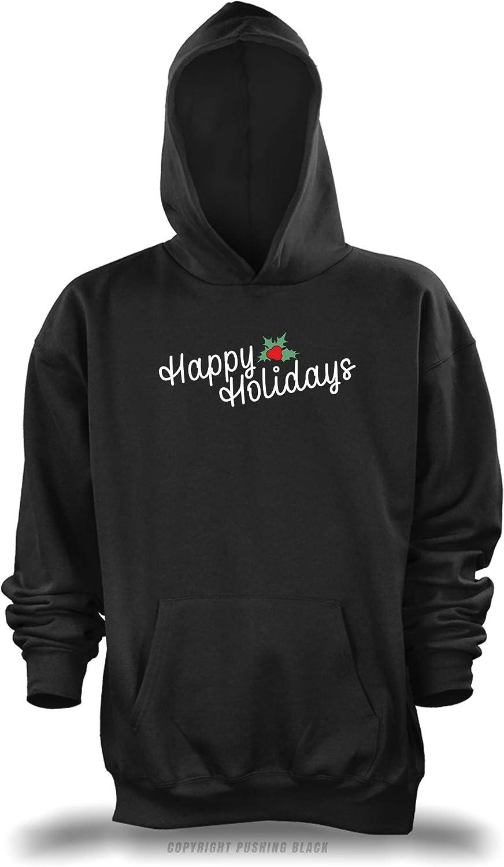 PUSHING BLACK Happy Holidays Mistletoe Unisex Pullover Hoodie