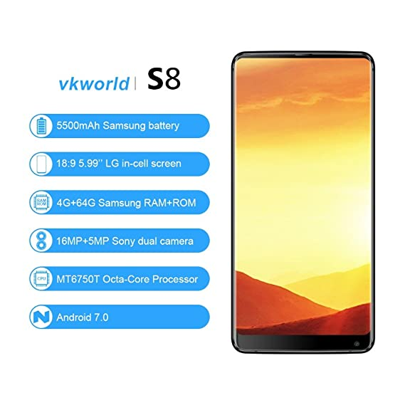 3e51d1d0981 Vkworld S8 5.99-inches 18 9 Full-Screen Mobile Phone 4G-LTE Fingerprint  Smartphone 4GB RAM 64GB ROM  Amazon.in  Electronics