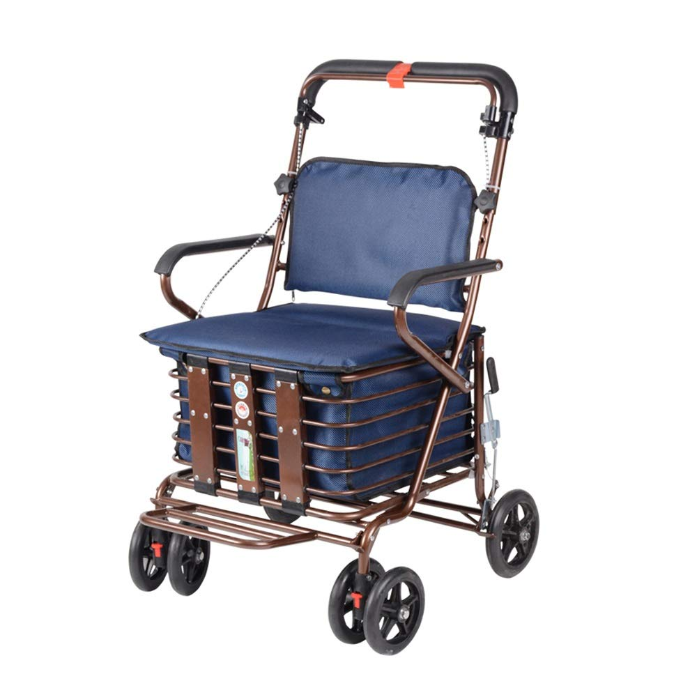 Rollator Walker That Converts to A Wheelchair,Walker Rollator with Seat and Foot Rest Lockable Brake Auxiliary Walking Safety Walker (Color : Blue) by YL WALKER