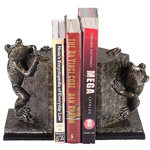 Frisby Decorative Resin Frog Bookends w/Beautiful Intricate Designs for Organizing & Displaying Books in Your Home, Office or Study Room