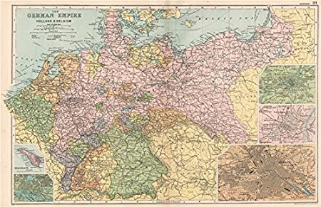 Map Of Holland And Germany.Germany Holland Belgium Berlin Heligoland Hamburg Metz Strasbourg