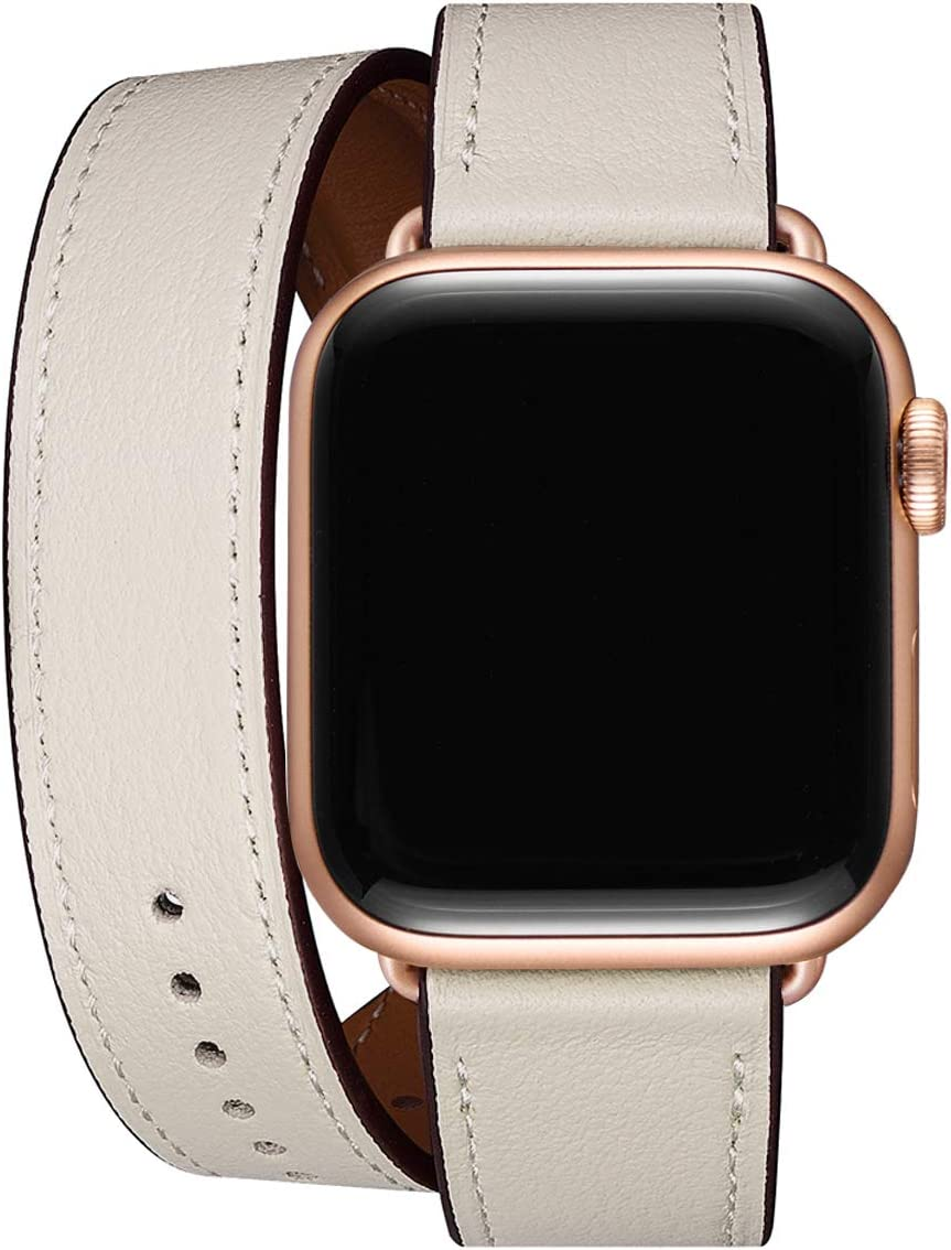 WFEAGL Compatible Watch Band 38mm 40mm, Top Grain Leather Double Tour Band with Rose Gold Adapter (Same as Series 5/4/3 with Gold Aluminum Case in Color) for Watch Series 5/4/3/2/1(Ivory White Band)