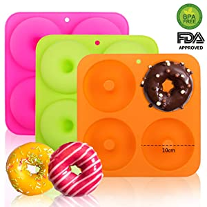 "BAKHUK 3Pack 4"" Donut Baking Pan Full Size Non Stick Silicone Molds Donut Trays Donut Pans - 3 Colors"