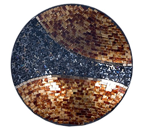 K37061 Mosaic Glass Multi Tone Plate Large 2 in High -