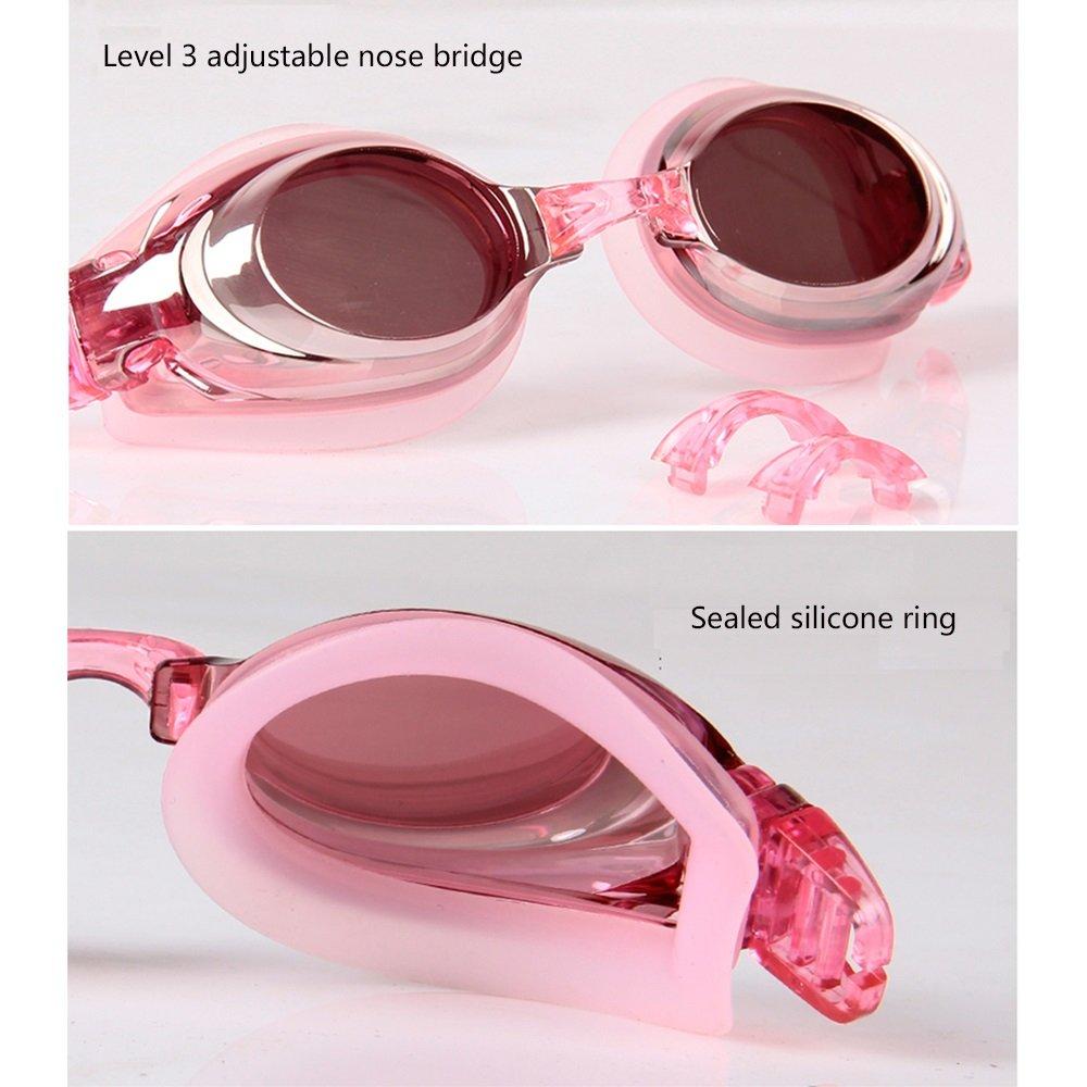JI Bin Shop® Lunettes De Natation Rose Femme Grand Cadre Myopie Lunettes HD  Miroir sous-Marin Anti-buée Imperméable Confortable Équipement De Natation  ... 55a9f90c6cf6