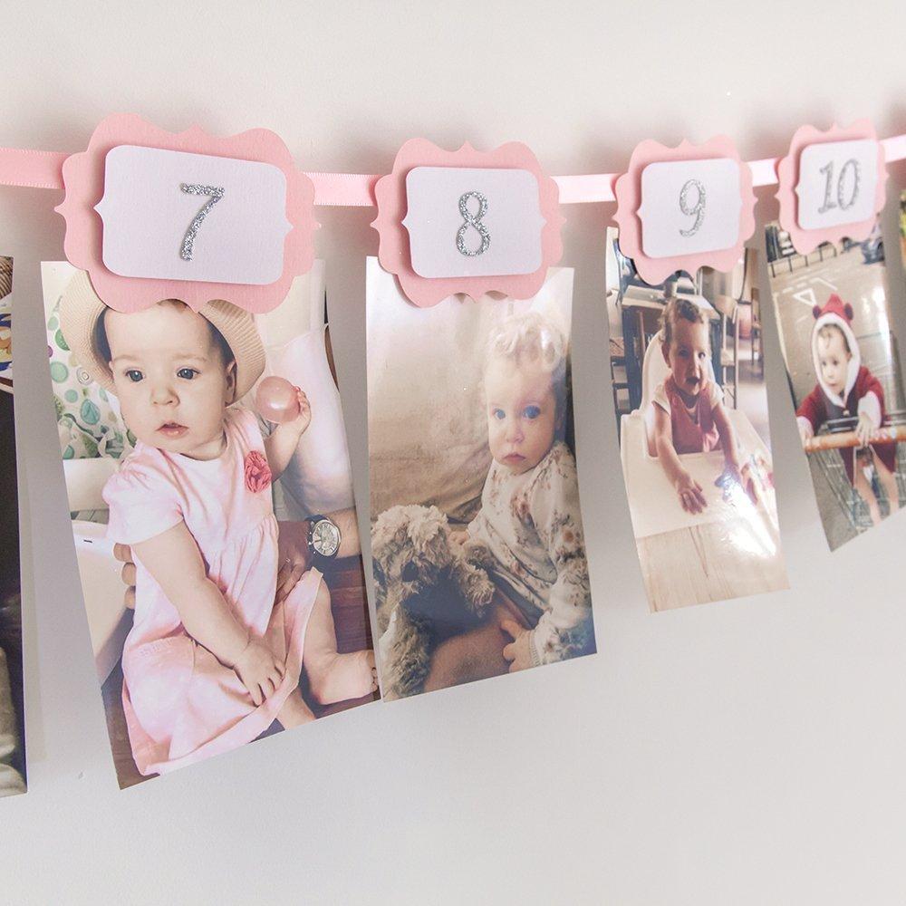 Banderín para el primer cumpleaños de tu bebé. Rosa, dorado, plateado, blanco, negro, azul, verde. Un añito. Niño o niña. Banderín para fotos 12 meses.
