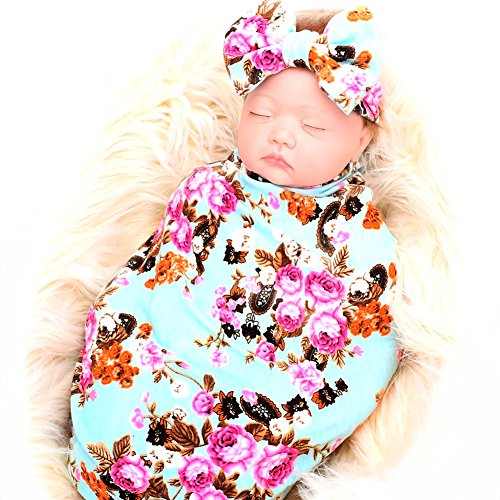Newborn Baby Sleep Receiving Blanket and Bow Headband Set Baby Swaddle Blanket -