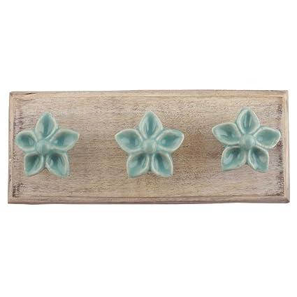 ed07d11a1d9f7 Indianshelf hecho a mano artística de madera mar verde flor toalla para  colgar de la pared