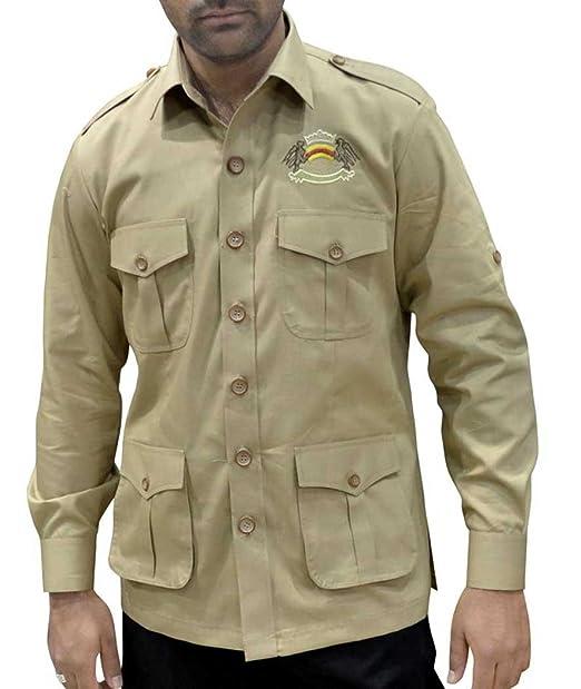 INMONARCH Hombre Safari Caza Camisa con Bolsillos Caqui Algodón Bush de Bolsillo (4 Camisas HS109: Amazon.es: Ropa y accesorios