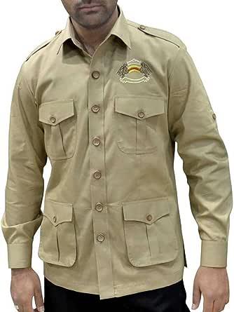 INMONARCH para hombre Safari Caza camisa con bolsillos ...