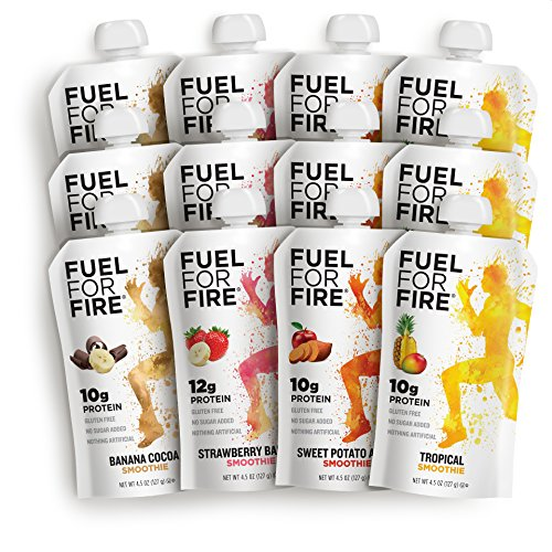 Fuel For Fire - Variety - Team Sports (12 Pack) Fruit & Protein Smoothie Squeeze Pouch   Perfect for Workouts, Kids, Snacking - Gluten-Free, Soy-Free, Kosher, No Added Sugar (4.5 ounce pouches) ()