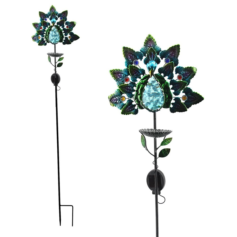 Comfy Hour 42'' Height Blue Handcrafted Metal Art And Glass Solar Peacock Garden Stake