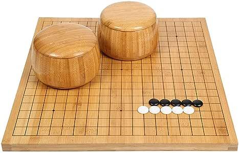 Colección de juegos Go Set con tablero de bambú reversible Go, que incluye tazones y piedras Juego de mesa de estrategia chino clásico para 2 jugadores Diseño de tabla plegable portátil para