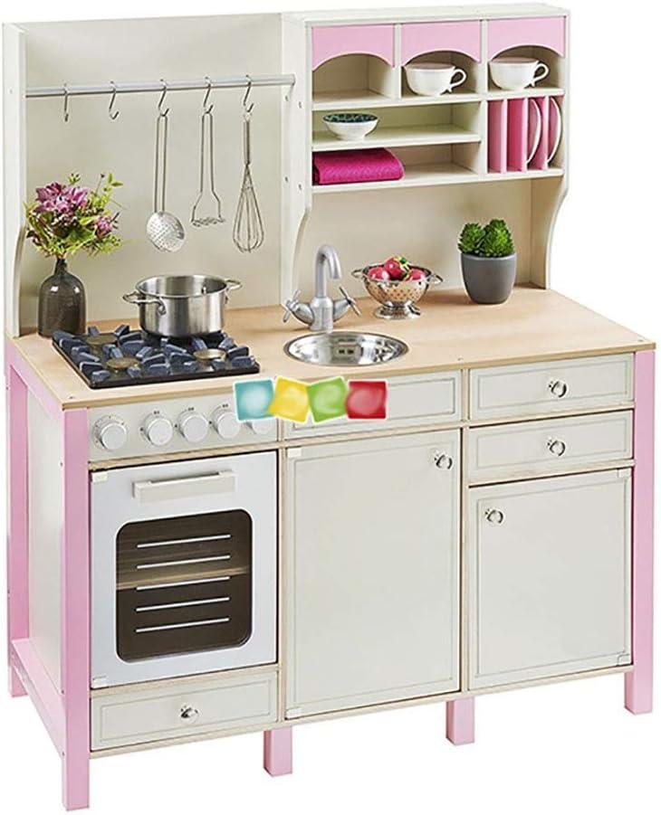 ままごと遊び キッチンセット 大規模な女の子キッズピンクの木製プレイキッチン子供のロールプレイふりセットのおもちゃでオーブン 知育玩具 (Color : Pink, Size : 105X33X85CM)