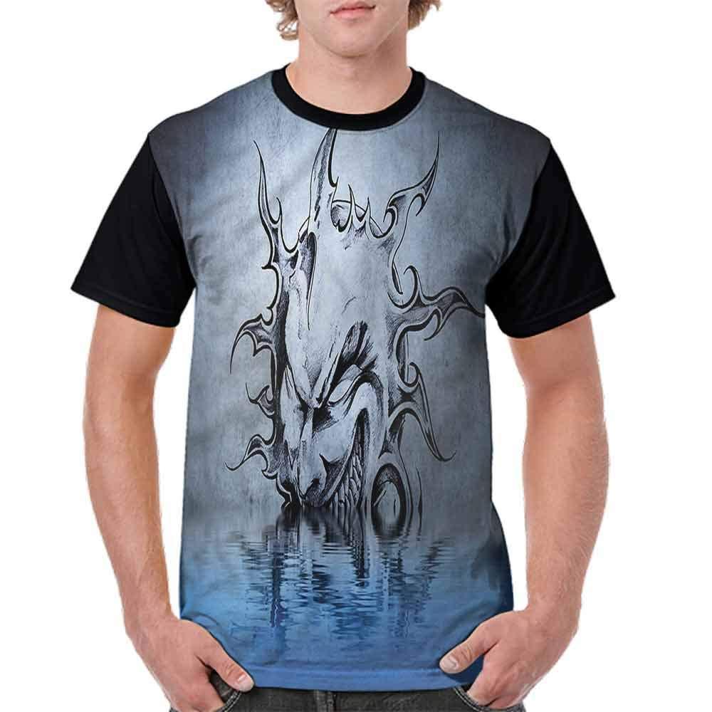 BlountDecor Classic T-Shirt,Sinister Face Design Water Fashion Personality Customization
