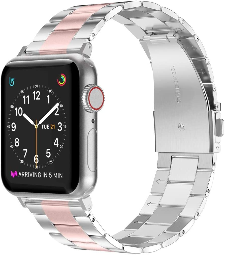 Wearlizer Stainless Steel Compatible with Apple Watch Band 38mm 40mm Women Men,Ultra-Thin Lightweight Color Matching Replacement Band Strap Compatible for iWatch Bands Series654321 Rose Gold+Silver