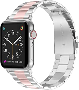 Wearlizer Stainless Steel Compatible with Apple Watch Band 42mm 44mm Women Men,Ultra-Thin Lightweight Color Matching Replacement Band Strap Compatible for iWatch Bands Series654321 Rose Gold+Silver
