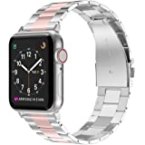 Wearlizer Stainless Steel Compatible with Apple Watch Band 42mm 44mm Women Men,Ultra-Thin Lightweight Color Matching…