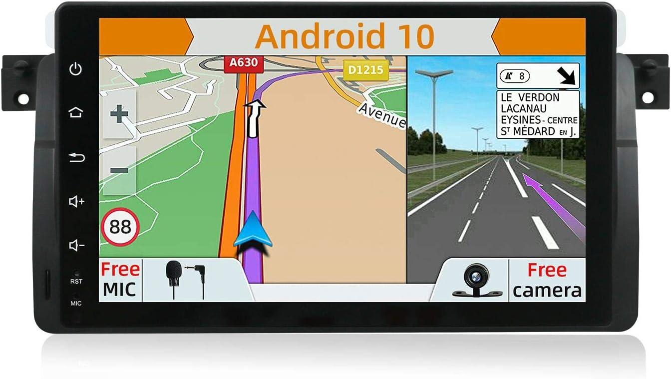 YUNTX Android 9.0 Autoradio Compatible con BMW E46 / M3 / 3 series(1998-2005) - 2G32G - GPS 2 Din -Cámara Trasera GRATIS - 9 pulgada - Soporte DAB+/Mandos de Volante/4G/WiFi/Bluetooth/MirrorLink